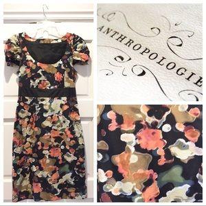 Anthropologie Silk Black Floral Print Sheath Dress